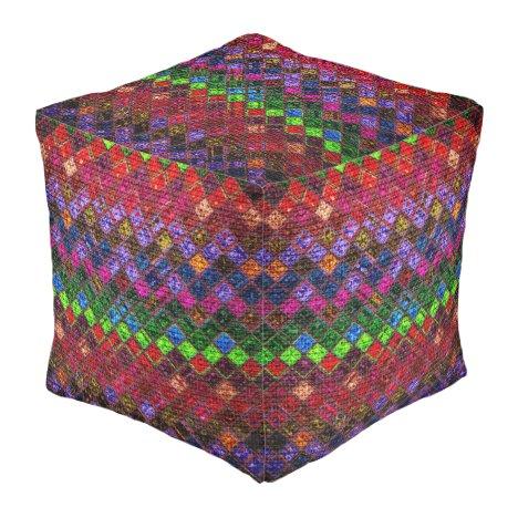 Colorful Mosaic Pattern Burlap Rustic Pouf