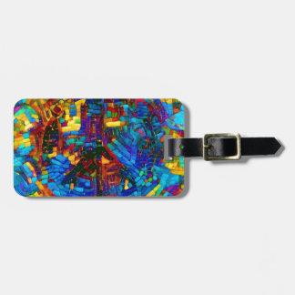 Colorful mosaic peace symbol luggage tag