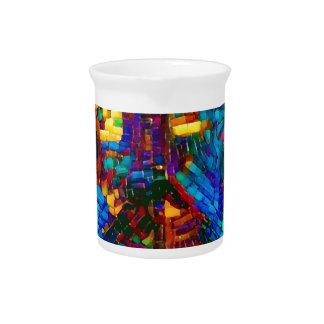 Colorful mosaic peace symbol pitcher