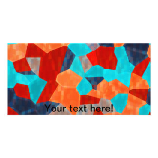 Colorful mosaic pieces customized photo card