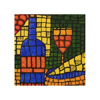 Colorful Mosaic Pop Art Wine Bottle Glass Cheese Wood Print