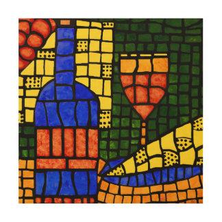 Colorful Mosaic Pop Art Wine Bottle Glass Cheese Wood Wall Decor