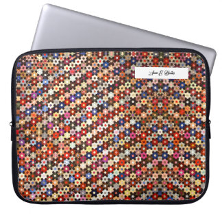 colorful mosaic quilt pattern laptop sleeve