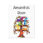 Colorful Mosaic Tree Cats Custom Name Kid's Room Canvas Print