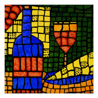 Colorful Mosaic Wine Pop Art Bottle Glass Cheese Poster