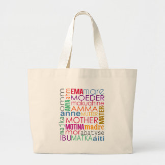 Colorful mother in many languages large tote bag