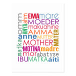 Colorful mother in many languages postcard
