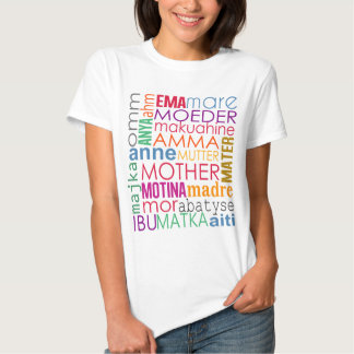 Colorful mother in many languages shirt