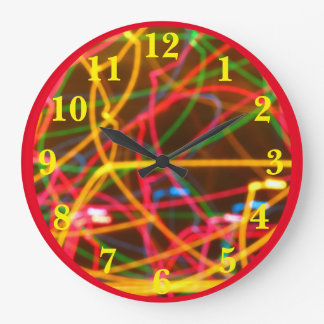 Colorful Motion Large Clock