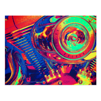 Colorful Motorcycle Engine Postcard