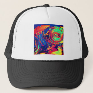 Colorful Motorcycle Engine Trucker Hat