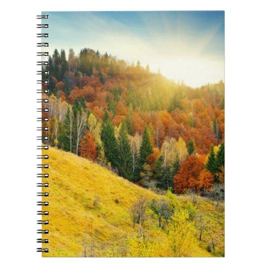 Colorful mountain autumn landscape notebook