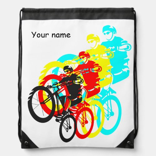 Colorful Mountain bike trials Drawstring Backpacks
