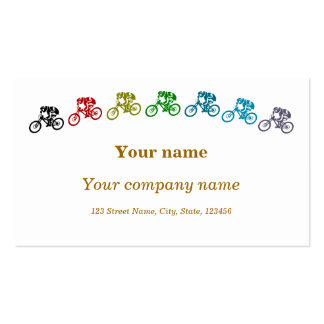 Colorful mountainbikes business card template