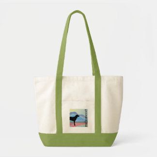 Colorful Mountains Coonhound (with text) Canvas Bags