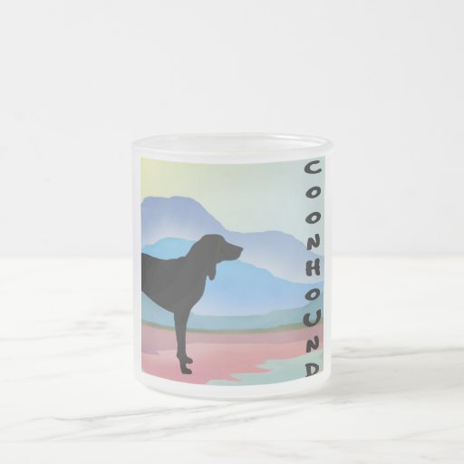 Colorful Mountains Coonhound (with text) Mug
