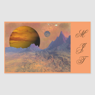 Colorful Mountains Space Scene Stickers