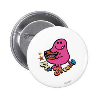 Colorful Mr. Greedy Eating 2 Inch Round Button