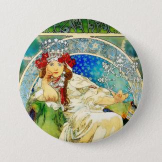 Colorful Mucha Princess Hyacinth Button