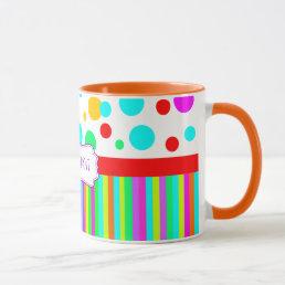 colorful mug,polka dots and stripes monogram mug