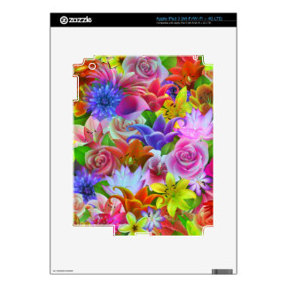 Colorful Multicolor Assorted Flowers Illustration Decals For iPad 3