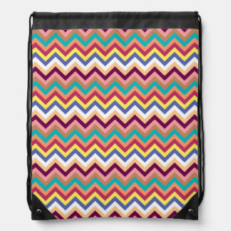 Colorful Multicolor Chevron Pattern Drawstring Bag