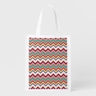 Colorful Multicolor Chevron Pattern Grocery Bag