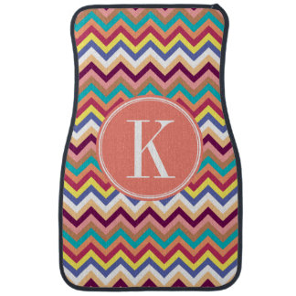 Colorful Multicolor Chevron with Coral Monogram Car Mat