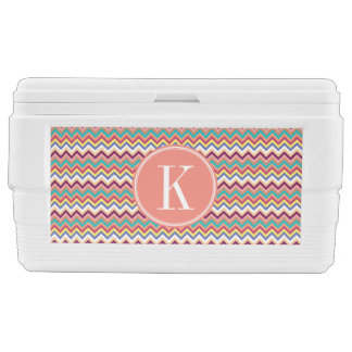 Colorful Multicolor Chevron with Coral Monogram Ice Chest