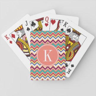 Colorful Multicolor Chevron with Coral Monogram Poker Deck