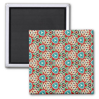 Colorful multicolor repeat patterns 2 inch square magnet
