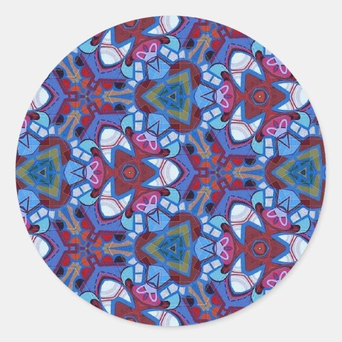 Colorful multicolor repeat patterns classic round sticker