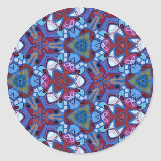 Colorful multicolor repeat patterns round sticker