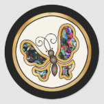 Colorful multicolor repeat patterns round stickers