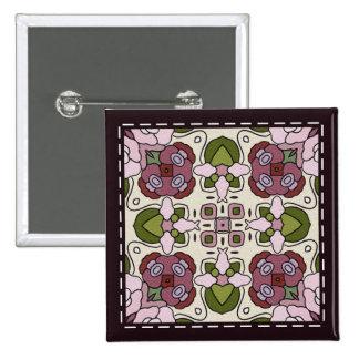 Colorful multicolor tile patterns pinback button