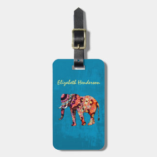 Colorful Multicolored Elephant on Blue Background Bag Tag