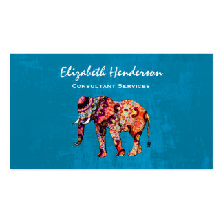 Colorful Multicolored Elephant on Blue Background Business Card