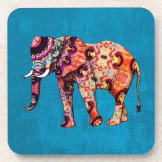 Colorful Multicolored Elephant on Blue Background Coaster