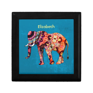 Colorful Multicolored Elephant on Blue Background Gift Box