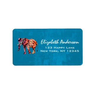 Colorful Multicolored Elephant on Blue Background Label