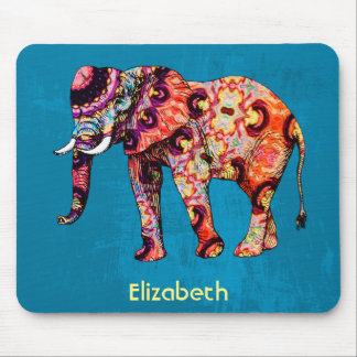 Colorful Multicolored Elephant on Blue Background Mouse Pad