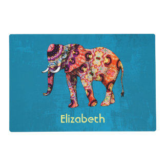 Colorful Multicolored Elephant on Blue Background Placemat