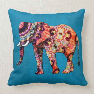 Colorful Multicolored Elephant on Blue Background Throw Pillow