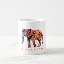 Colorful Multicolored Patterned Elephant Coffee Mug