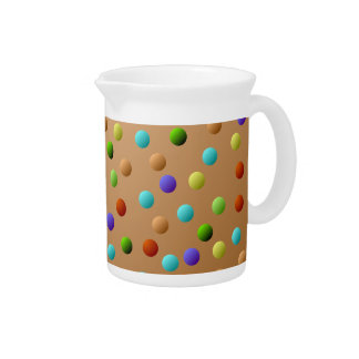 Colorful Multicolored Polka Dot Pattern Drink Pitcher