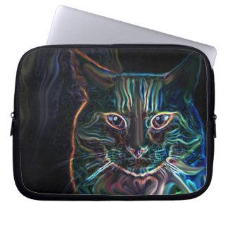 Colorful multicolour cat graphic art laptop sleeve