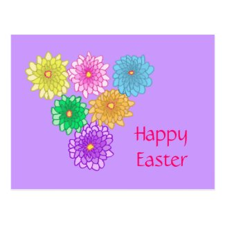 Colorful Mums Happy Easter Postcards