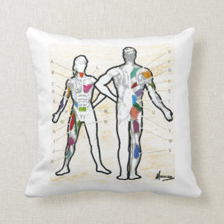 Colorful muscles chart anatomy throw pillows