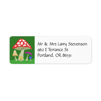 Colorful Mushrooms address label