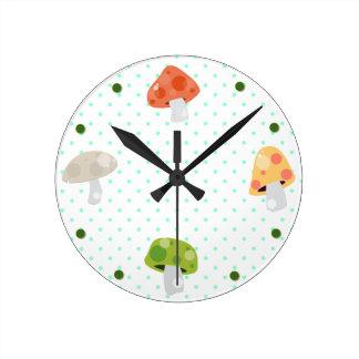 Colorful Mushrooms & Polka Dot Kitchen Wall Clock